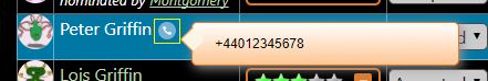 Telephone number tooltip.